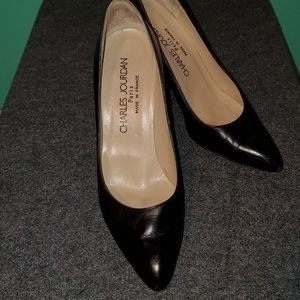 Charles Jourdan Classic Black Leather Pumps Size 8